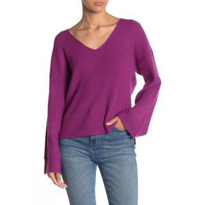 Free Press V-Neck Ribbed Bell Sleeve Sweater, XL